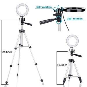 Image 4 - Suporte ajustável de led para câmera, suporte ajustável de 5.7 polegadas com anel luminoso para telefone de 35 100cm para filmagem de vídeo