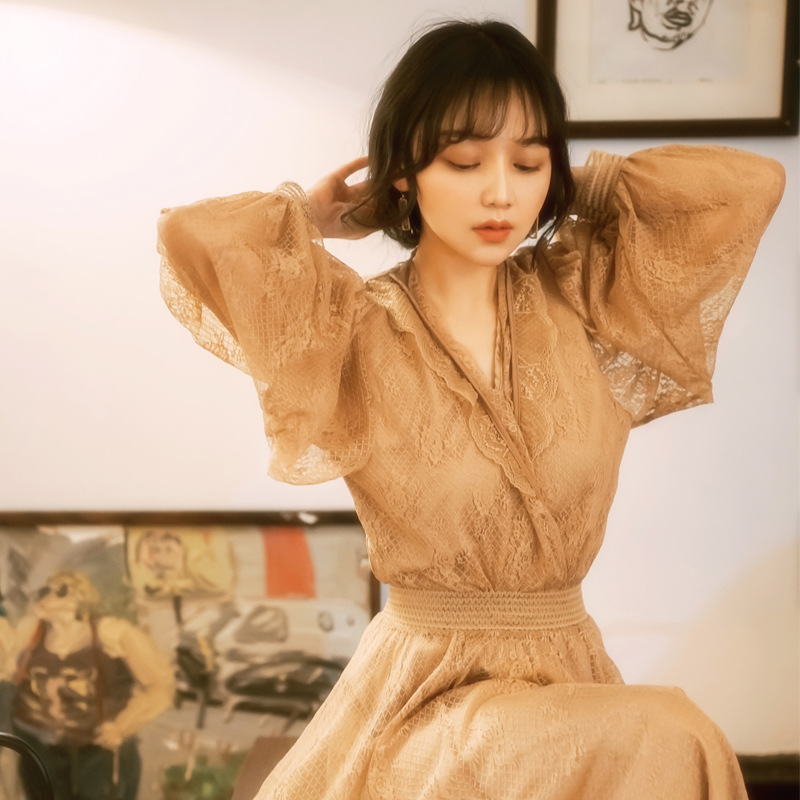 Spring Clothing 2019-Women's French Fu Gu Qun Two-Piece Set Lace Dress Very Fairy Of France Non-mainstream Dress Women's