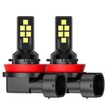 2 pçs h11 led anti nevoeiro lâmpadas led 1200lm 6000k branco amarelo condução fogamps lâmpadas auto leds luz carro bens 12v