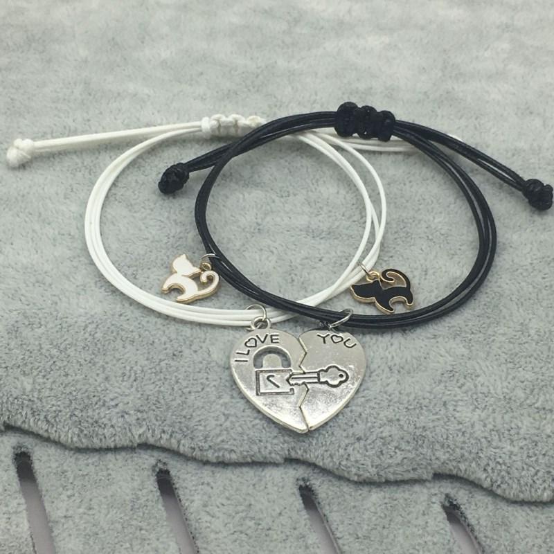 New Fashion Couple Bracelet Stitching Heart Bracelets Women Cute Cat Pendant Romantic Valentine's Day present for Lovers