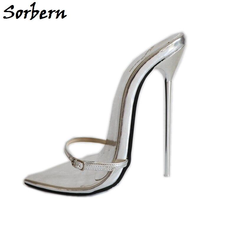 Sorbern Super mince en métal à talons hauts pantoufles femmes boîte de nuit fête talons dames diapositives T Show sandales Sexy nouveau 12cm 14cm 16cm-in Pantoufles from Chaussures    1