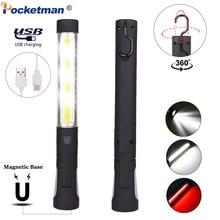 Przenośna lampka robocza COB LED latarka magnetyczna latarka USB akumulator 360 Rotate Worklight elastyczna lampa kontrolna z hakiem