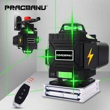 PRACMANU 16 линий 4D лазерный уровень самонивелирующийся 360 горизонтальный и вертикальный крест супер мощный зеленый лазерный уровень