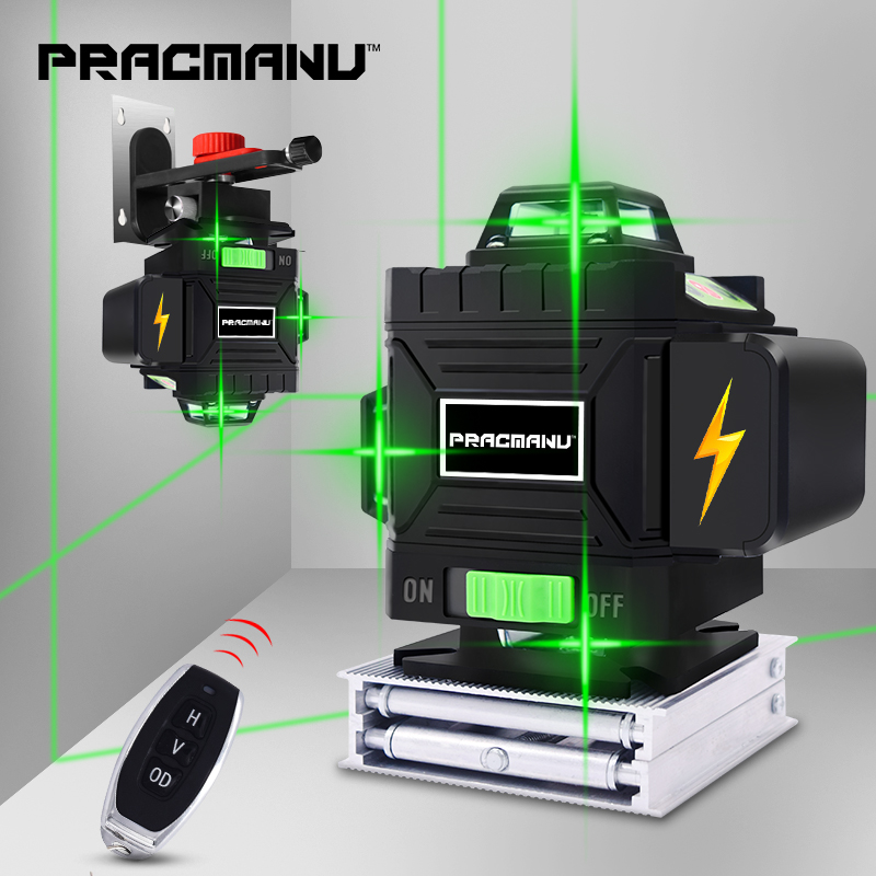 PRACMANU 16 Linien 4D Laser Level level Selbst Nivellierung 360 Horizontale Und Vertikale Kreuz Super Leistungsstarke Green Laser Level
