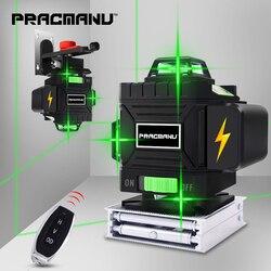 Practicmanu 16 líneas 4D láser Nivel de nivelación automática 360 Horizontal y Vertical Cruz Super potente verde láser nivel