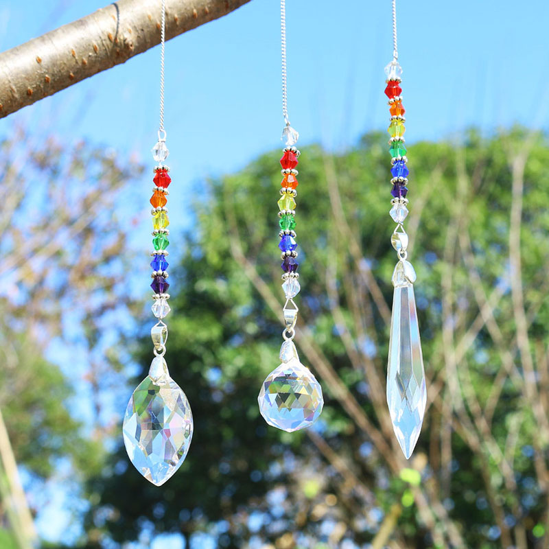 H&D Set Of 3,Chandelier Crystals Prisms Chakra Suncatcher With Chain Rainbow Window Hanging Ornament Home Garden Decor Gift