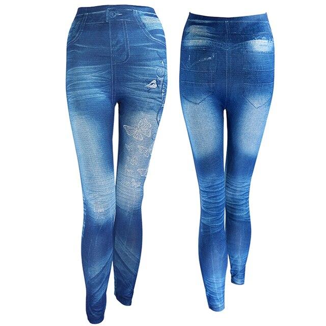 2019 Women New Fashion Classic Stretchy Slim Leggings Sexy imitation Jean Skinny Jeggings Skinny Pants big size bottoms hot sale 3