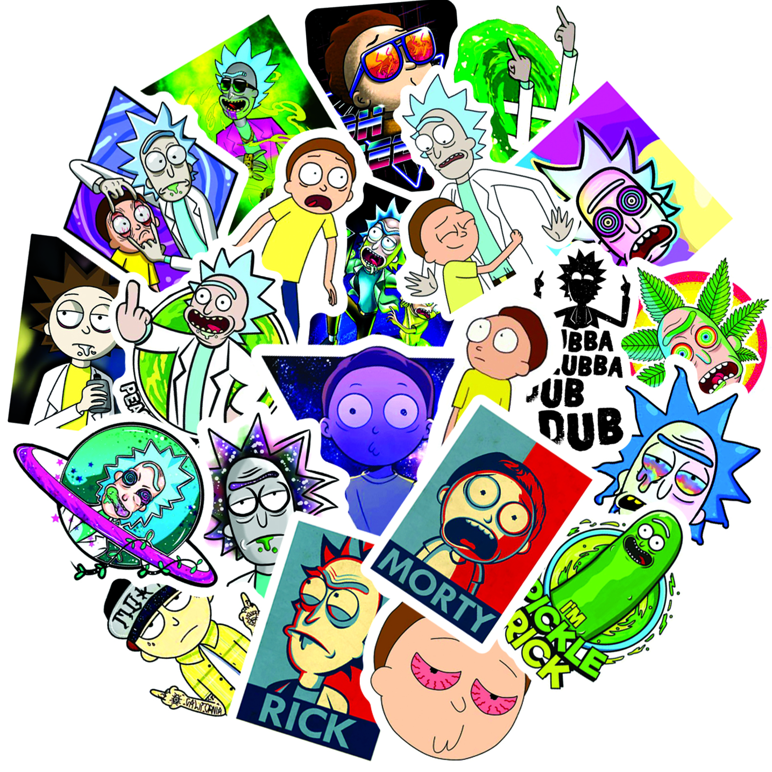 50pcs Waterproof Cartoon Rick And Morty Stickers Skateboard Suitcase Guitar Luggage Laptop Stickers Kid Classic Toy