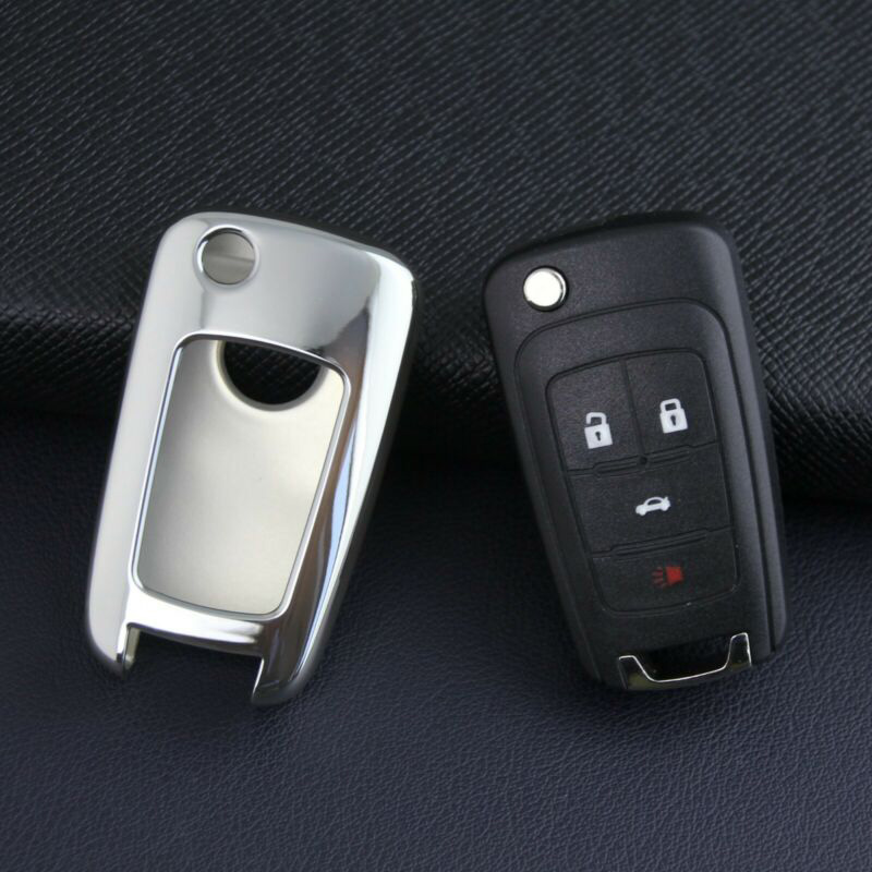 Silver Remote Flip Key Protective Case Covers Replace FOB For Chevrolet Buick