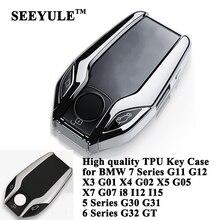 Seeyule capa de chave de carro em tpu, acessórios para bmw 5 6 7 g11 g12 g30 g31 g32 i8 i12 i15 x3 g01 x4 g02 x5 g05 x7 g07