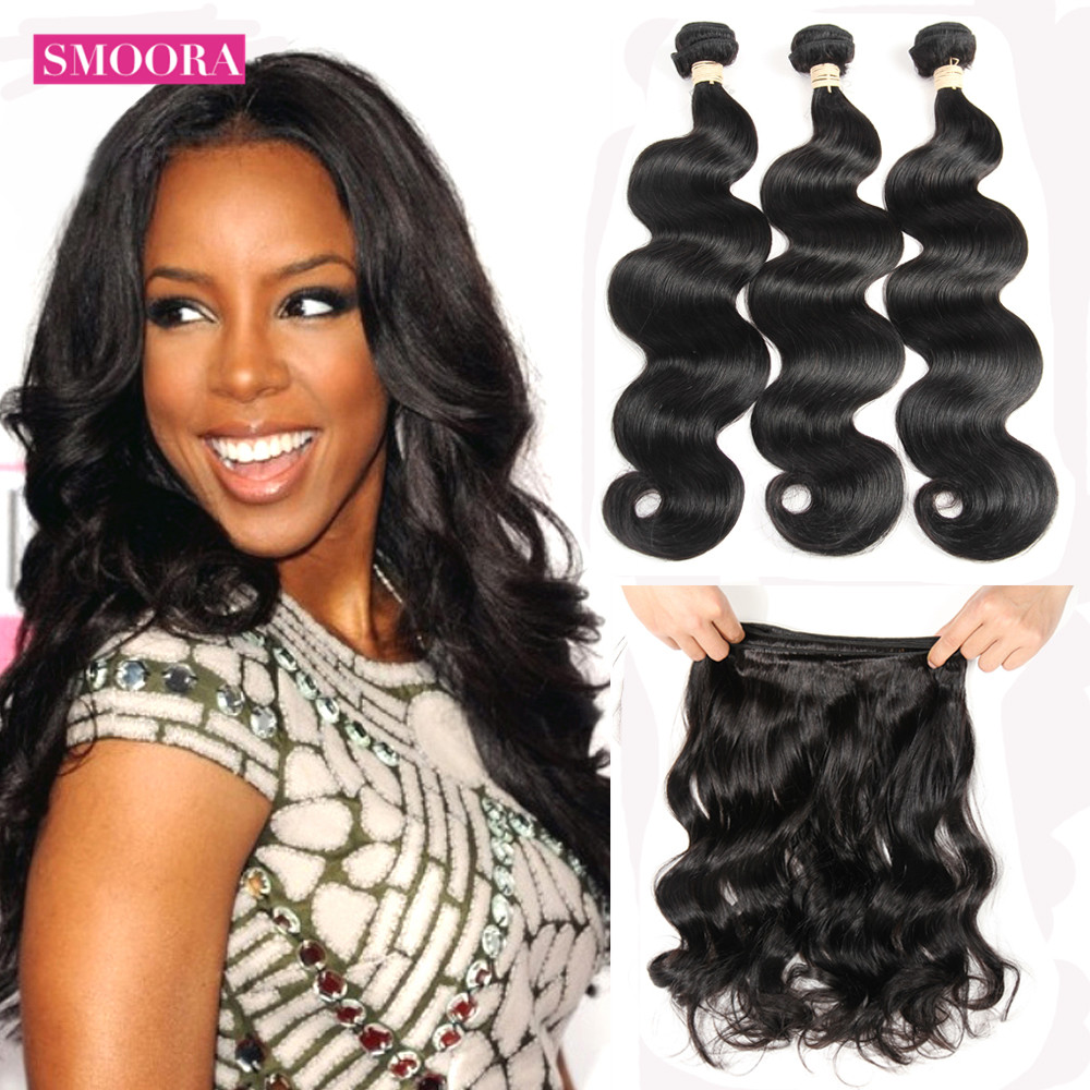 Бразильские волнистые волосы Smoora, 1, 3, 4 пряди, 100% человеческие волосы, волнистые пряди, натуральный черный цвет