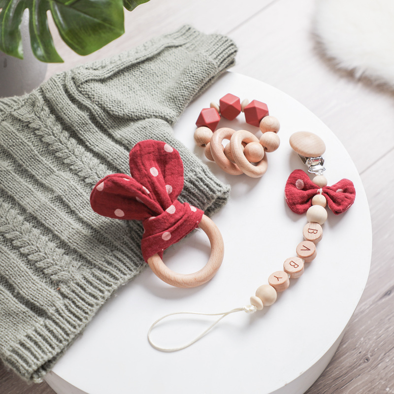 1pc Baby Rattle Wooden Ring Bed Toys Teether Pacifier Clips Chain Cotton Saliva Towel Pacifier Chain Bunny Ear For Kids Product
