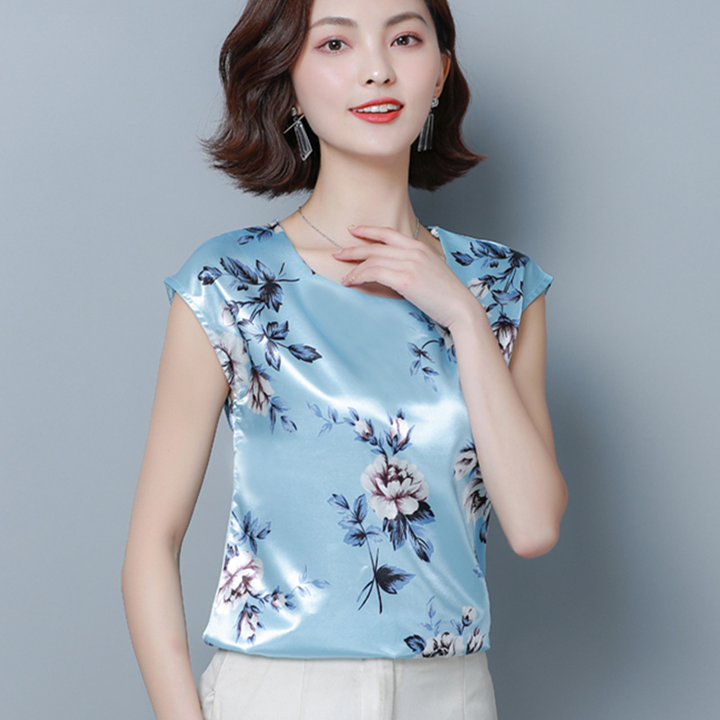Korean Fashion Silk Women Blouses Satin Flower Batwing Sleeve White Women Shirts Plus Size XXXL/4XL Blusas Femininas Elegante