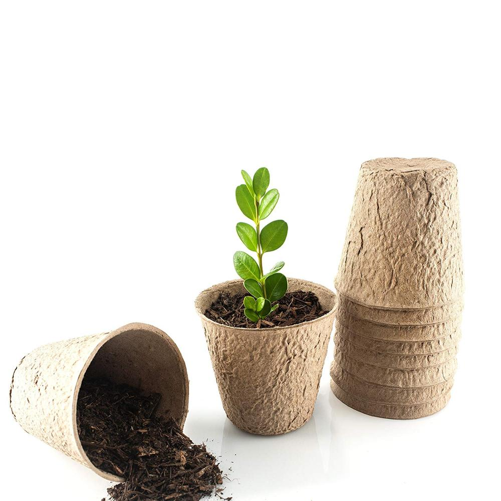 "100pcs 3"" 8cm Peat Pots Plant Starters Seedling Herb Seed Starter Nursery Cup Grow Kit Organic Biodegradable Enhance Aeration"