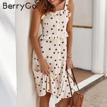 BerryGo Polka dot frauen sommer kleid casual spaghetti trägern tasten weibliche rüsche kleid Hohe taille damen urlaub vestidos 2020