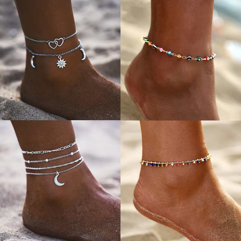 17MILE Vintage Multilayer Heart Infinite Map Anklets For Women 2020 Moon Star Ankle Bracelet On Leg Summer Beach Foot Jewelry