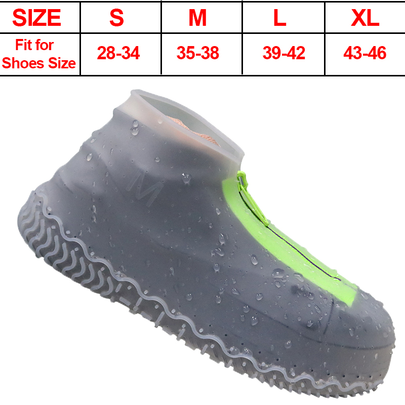 Silicone Waterproof Shoe Cover Overshoes with Zipper Non-Slip Washable Protection Rain Shoes Boots for Women Men 2020