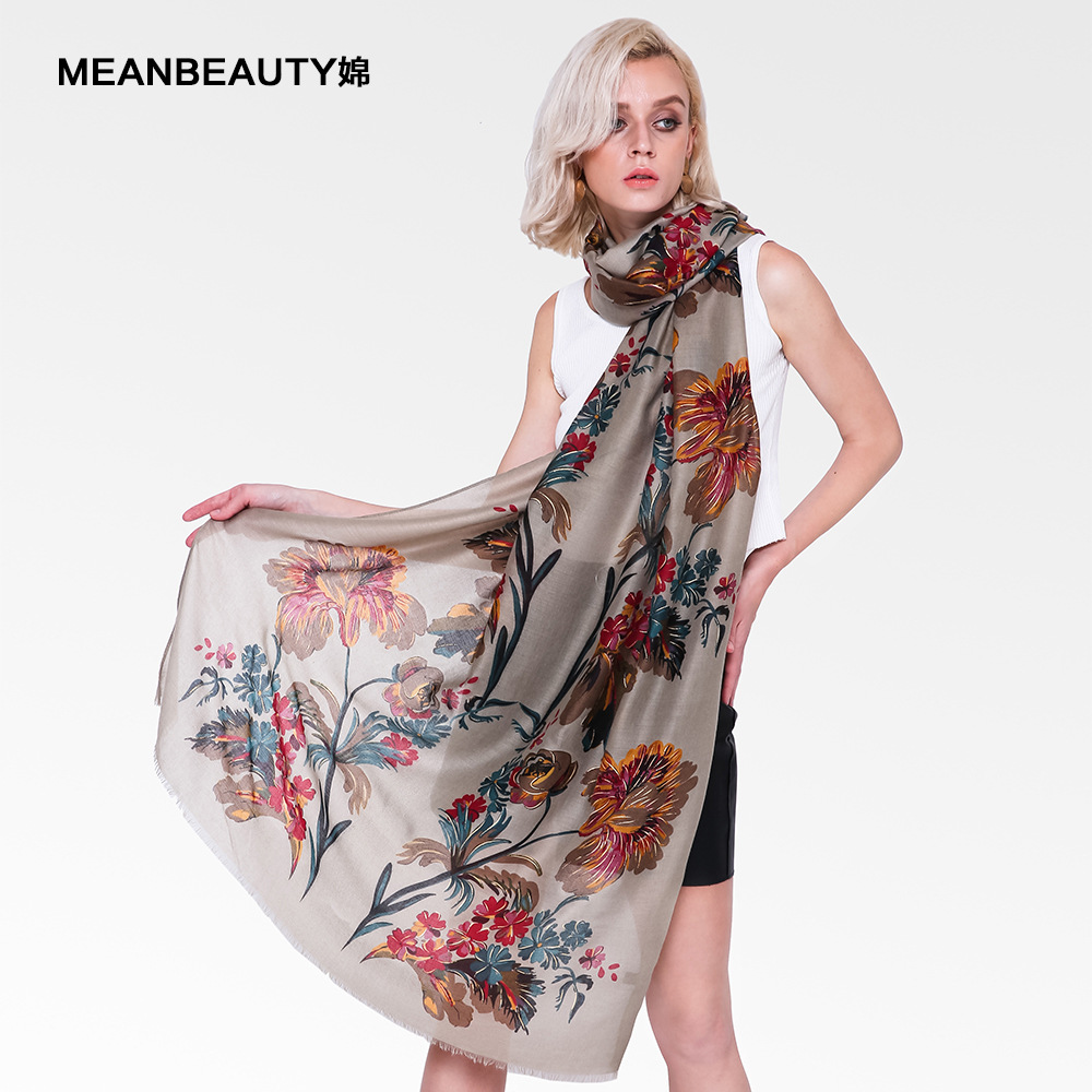 Autumn And Winter New Double Row Large Flower-encrusted Gold Scarf Women's Hundred-set Atmospheric Cotton And Linen Scarf