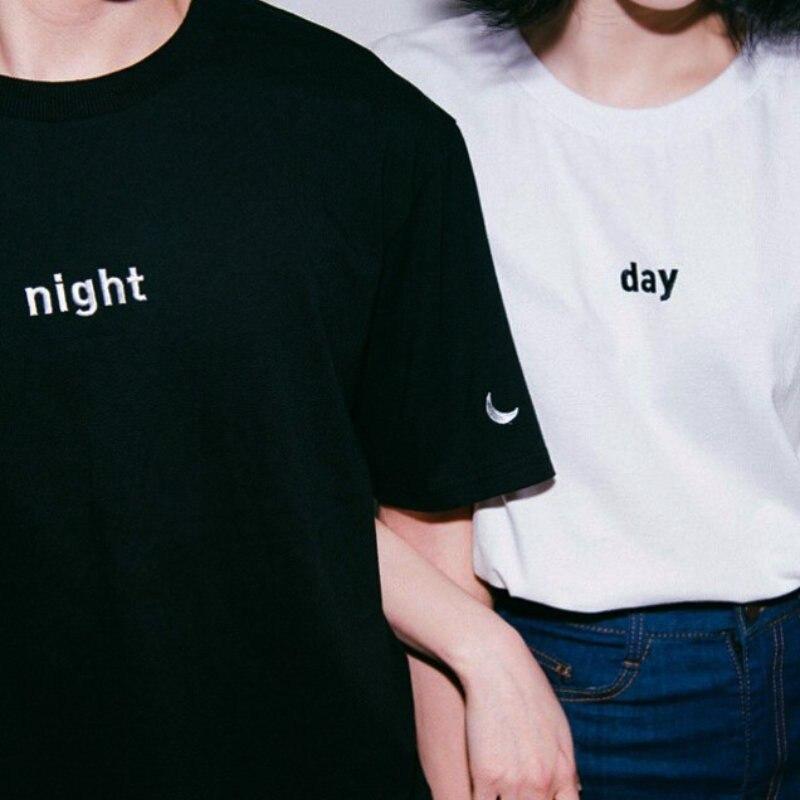 Day And Night Letter Sun Moon T Shirt Women Short Sleeve O Neck Loose T Shirt Summer Women  Tops