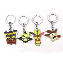Crash Bandicoot Game Keyring for Men Women Cosplay Dog Keychain Male Anime Jewelry Key Holders pendant figure toys Souvenir gift(China)