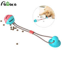 Cepillo de dientes multifunción para mascotas juguetes para masticar molares interactivos alimentador con fugas cuerda elástica ventosa Push Ball perro mordiendo Limpieza de juguete
