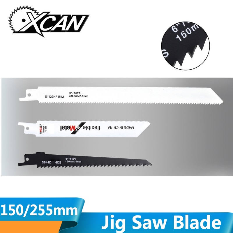 XCAN 1pc 150/225mm High-Carbon Steel Jig Saw Blade S1122HF S922EF S644D Reciprocating Saw Blade Wood Cutter Saw Blade