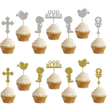 2 set Kinder Gebet Gott Segnen Pigeon Kreuz Cupcake Topper Für Kinder Primera Comunión Taufe Erste Heilige Kommunion Partei Dekoration