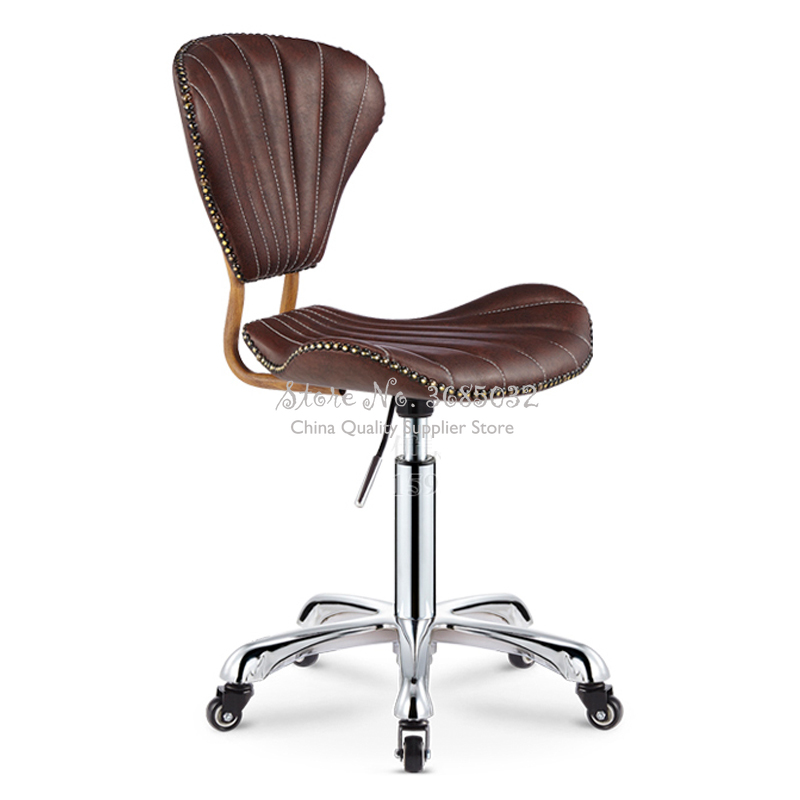 PU Beauty Nail Chair Metal Bar Stools Bar Stool Chair Formal Dinning Chairs Fauteuil Long De Bars