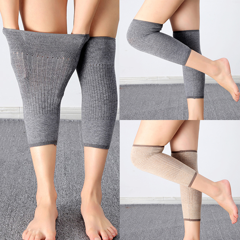 Winter Knitted Wool Kneepads Thicker Warmer Knee Protector Elastic Compression Sleeve Solid Color Casual Soft Knee Pads Unisex