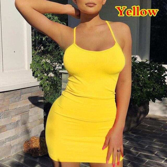 Spaghetti Strap Camisole Mini Dress Women Sexy Bodycon Club Party Dresses 2021 Summer New Pure Color Sundress Plus Size XS-5XL 15