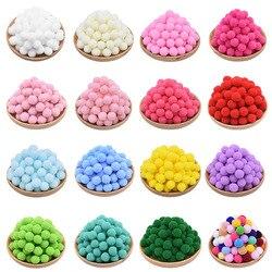 100 pçs 15-25mm colorido pompons diy bonecas vestuário material feito à mão macio fofo pom pompons bola para diy crianças brinquedos acessórios