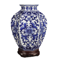 Jingdezhen ceramics classical hand painted blue and white lotus hexagon pot vase flower ware porch DECORATION ORNAMENT