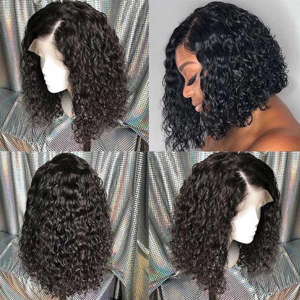 Malezyjski kręcone krótkie Bob koronki przodu włosów ludzkich peruka wstępnie oskubane dla czarnych kobiet Glueless 6-14 ines kręcone Bob koronki przodu peruki Rem