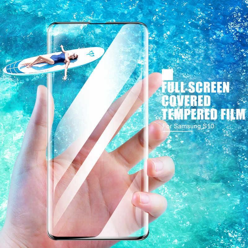 800D โค้งป้องกันกระจกสำหรับ Samsung Galaxy S10 S9 S8 Plus ป้องกันหน้าจอสำหรับ S10e S7 ขอบหมายเหตุ 8 9 10 Plus กระจกนิรภัย