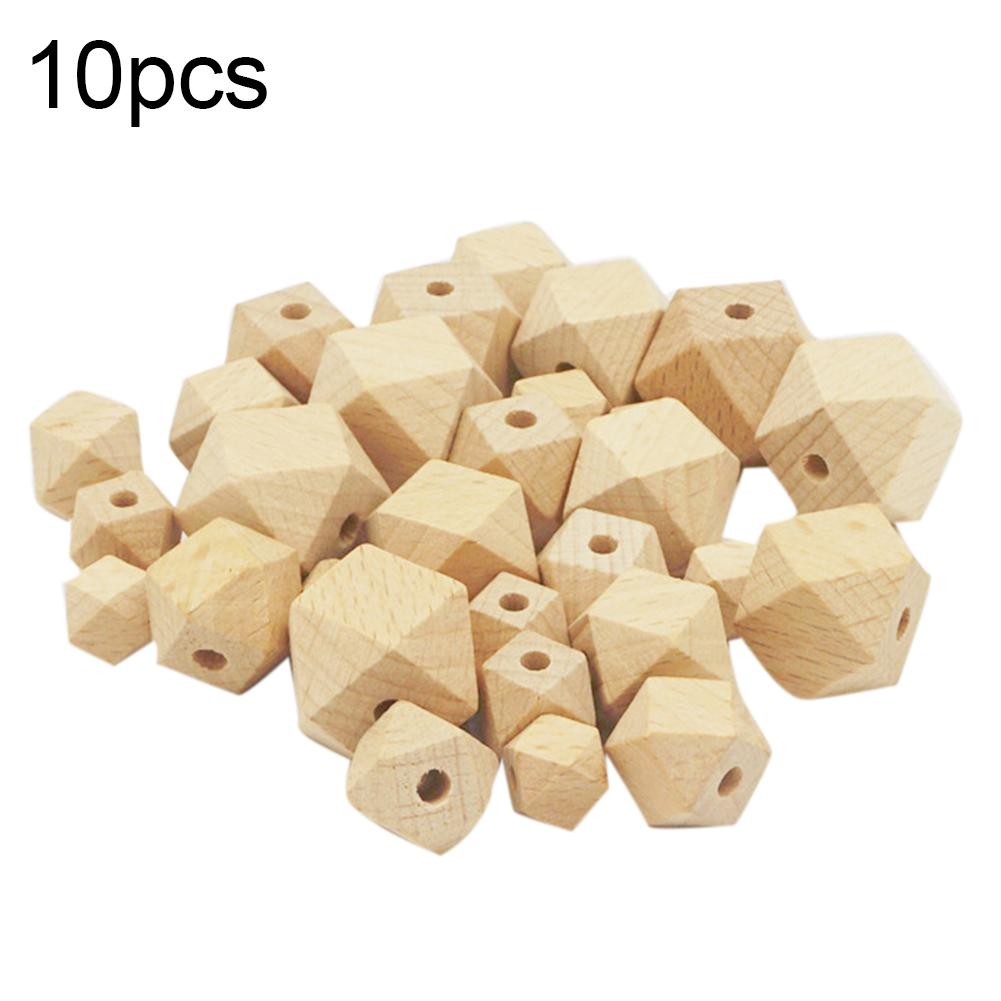 10Pcs Newborn Baby Teether Bead Wooden Geometric Hexagon Beads DIY Unpainted Teething Necklace Pacifier Chains Accessory