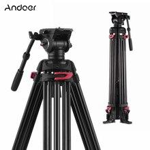 Andoer Fotografia Professionale Treppiede In Alluminio Fluido Idraulico Testa Ciotola per Canon Nikon Sony DSLR