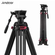 Andoer Professional fotografia stojak trójnóg aluminiowa płynna głowica hydrauliczna do aparatów Canon Nikon Sony DSLR