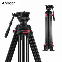 Andoer מקצועי צילום חצובה סטנד אלומיניום נוזל הידראולי קערת ראש עבור Canon Nikon Sony DSLR מצלמות