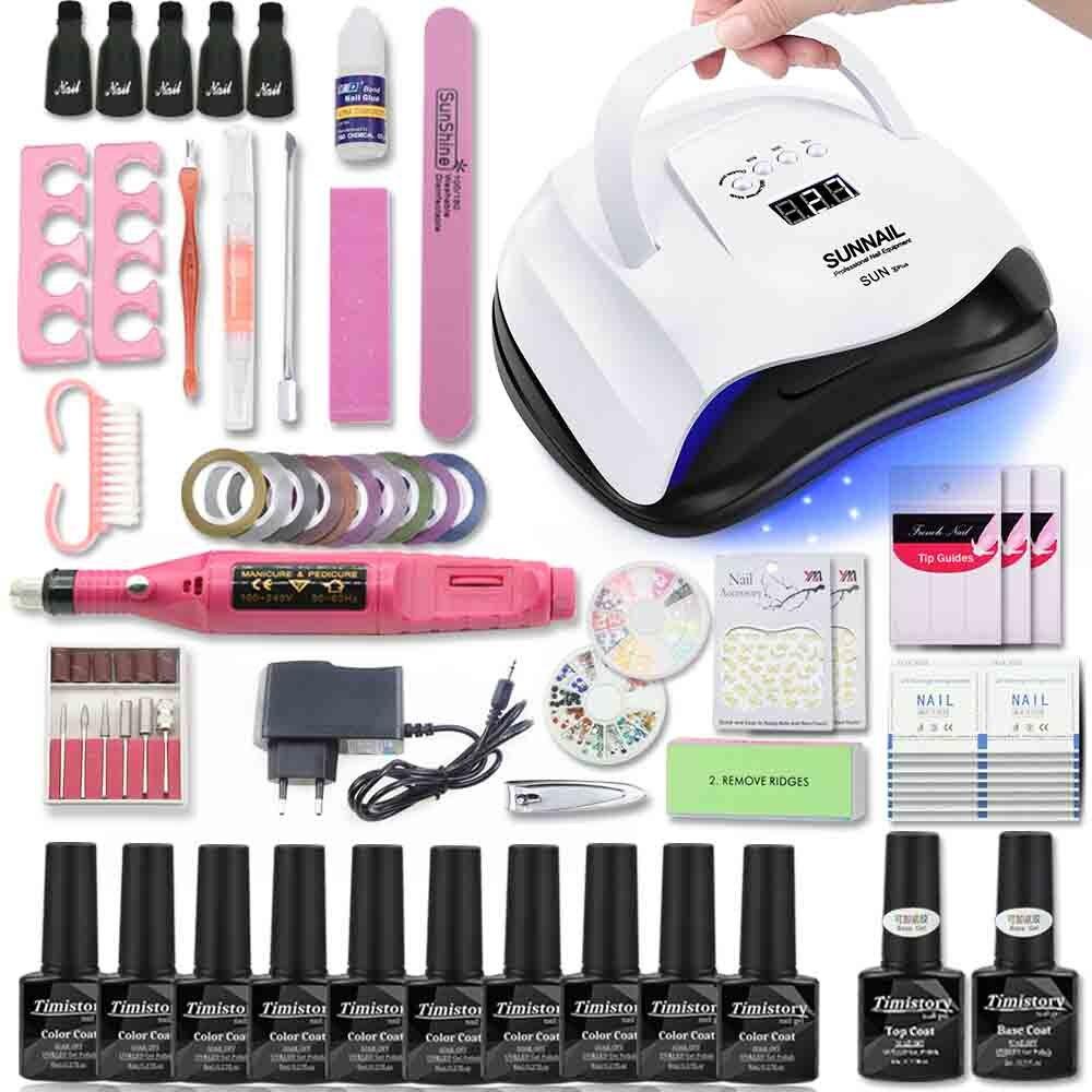 Jogo de Manicure Para Unhas Kit 80W Lâmpada UV Secador de Unha Conjunto com Máquina de Perfuração Prego 10pcs Polonês Gel Unhas de Molho Off Kit de Ferramentas de Manicure