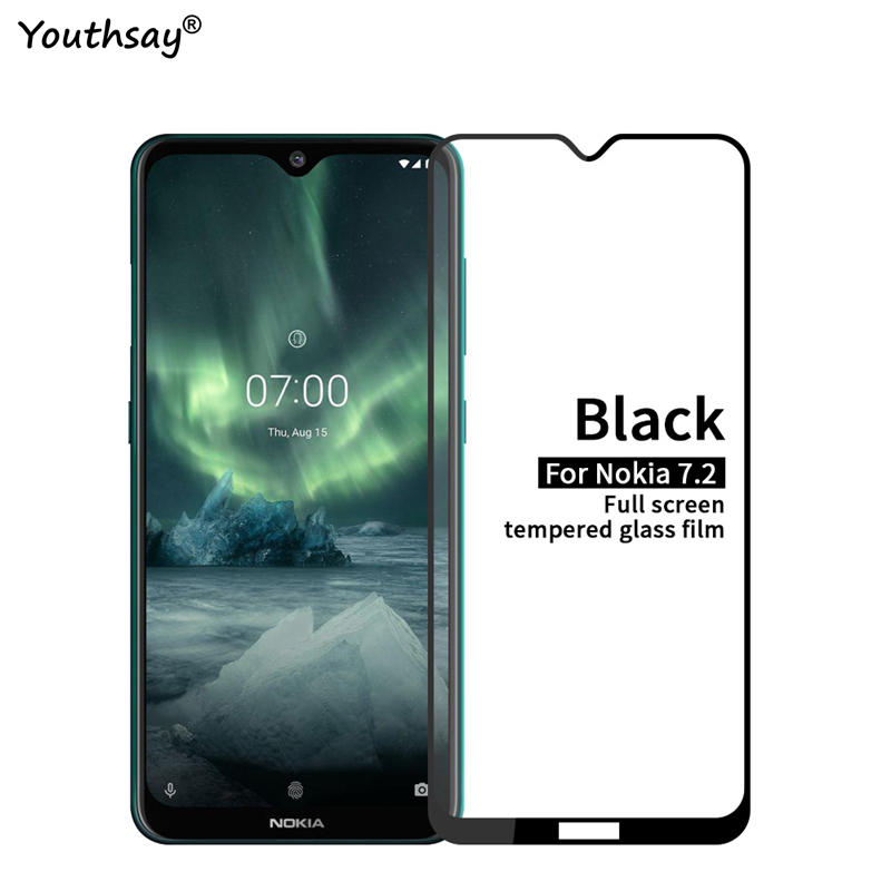 1PCS For Nokia 7.2 Glass Screen Protector Full Glue Protective Film For Nokia 7.2 Tempered Glass For Nokia 7.2