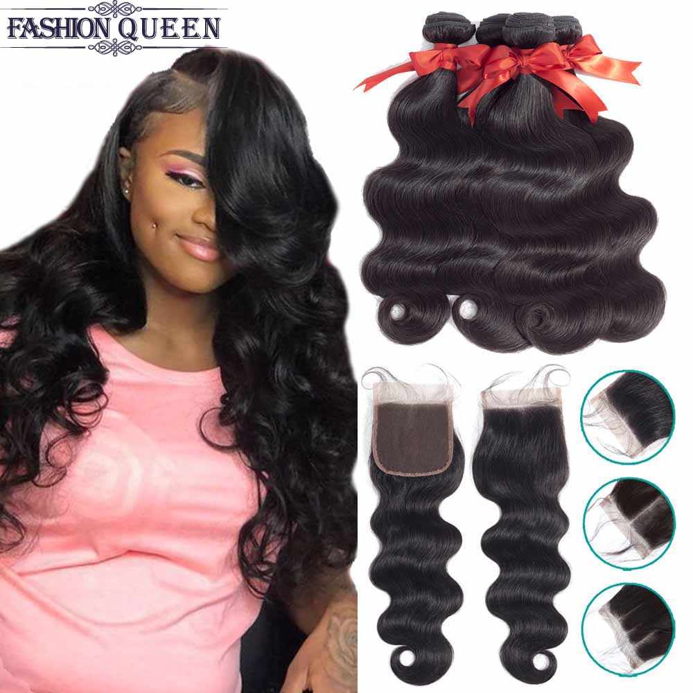 Brazilian Hair Weave Bundles With Closure Human Hair Bundles With Closure Body Wave Bundles With Closure Non Remy Fashion Queen