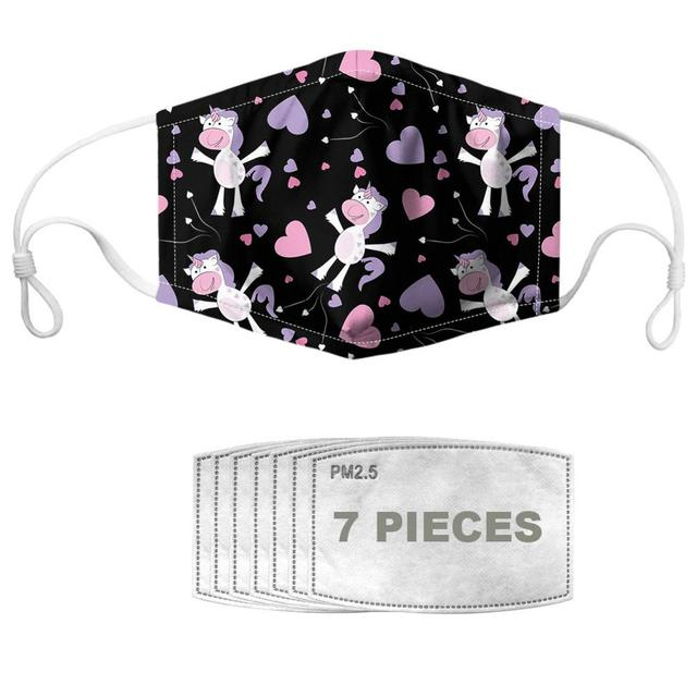 NOISYDESIGNS Mouth Mask With 7pcs Filters Face Cover Star Horse Prints Breathable Masques Reusable Kpop Mascherina 2