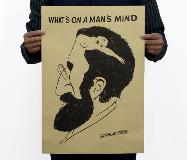 Freud Portrait Vintage Kraft Paper Classic Movie Poster Map School Wall Office Decoration  Art  Retro Prints