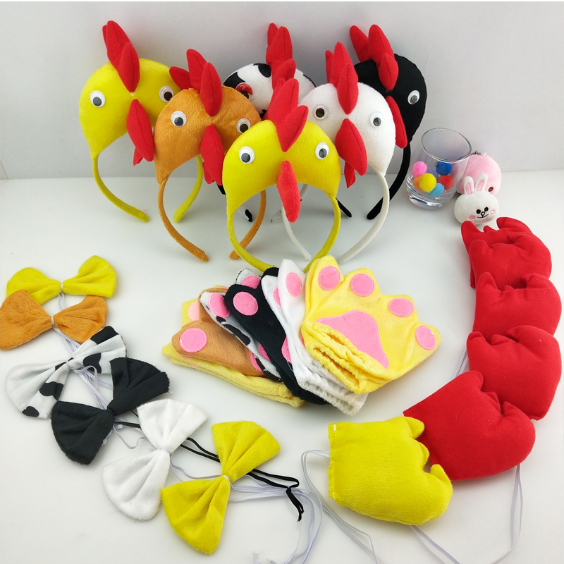 Kids Adults Animal 3D Chicken Duck  Headband Bow Tie Tail Paws Gloves Cosplay Costume Set Party Dress Decor Halloween