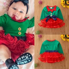 Princess Dress Tutu Christmas-Outfits Newborn Girls Babies Gift First Xmas Costume Splicing
