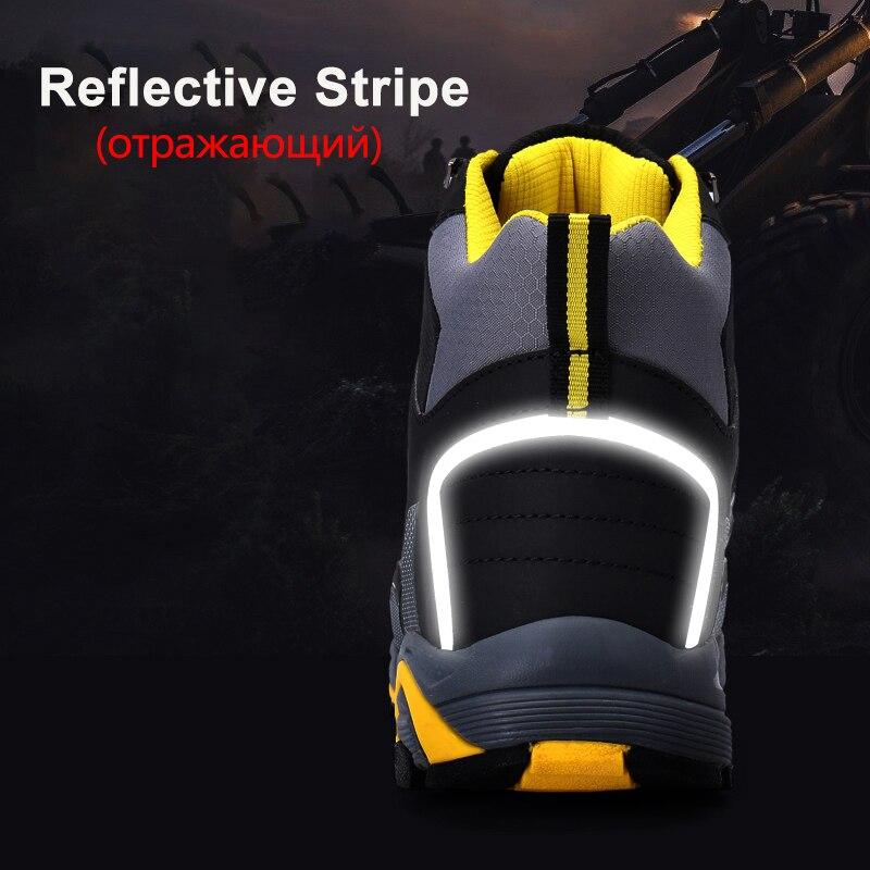 Larnmern homens de aço toe sapatos de segurança de trabalho leve respirável anti esmagamento anti punctura botas protetoras estáticas - 4