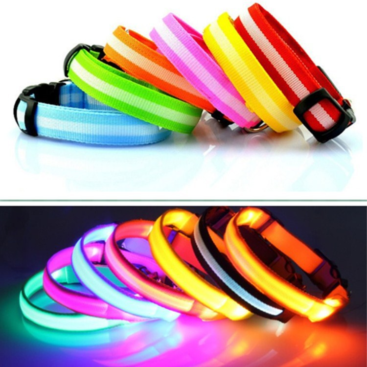 Hot Selling Pet Collar Dog Stripes Luminous Collar Pet Supplies Neck Ring