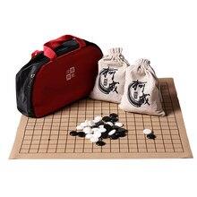 Weiqi Gomoku – sac en tissu Portable, 19 lignes Standard sur le jeu d'échecs International, jeu de société en cuir suédé, pièces en mélamine