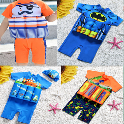 CHILDREN'S Buoyancy Swimsuit One-piece Children Learn Swimming Training Suit BOY'S Girls Boxer Sports Multi--Cartoon Swimwear