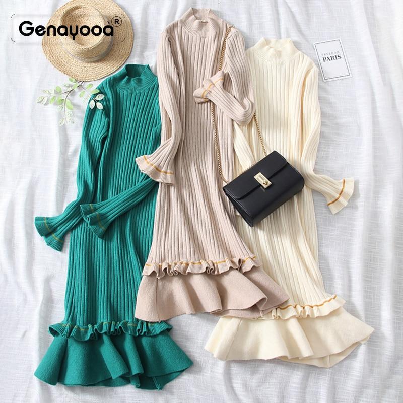 Genayooa 2019 Women Dress Elegant Knitted High Quality Winter Dresses Casual Fishtail Dress Long Sleeve Mid Calf Vestidos Female 40